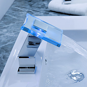 Color Changing LED Waterfall Widespread Bathroom Sink Faucet with Pop up Waste