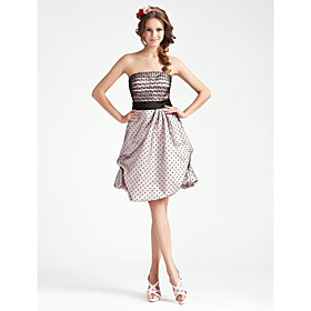 A-line Strapless Knee-length Satin Tulle Bridesmaid Dress