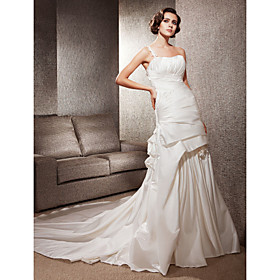 Trumpet/ Mermaid One Shoulder Court Train Satin Side-draped Wedding Dress