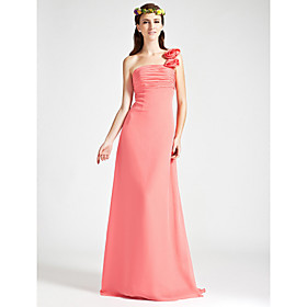 Empire One Shoulder Sleeveless Floor-length Chiffon Wedding Party/ Evening Dress