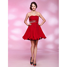 A-line Princess Strapless Short/ Mini Chiffon Cocktail Dress