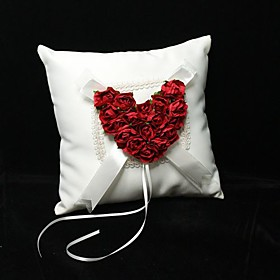 Red Rose Heart Ring Pillow