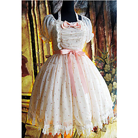 Short Sleeve Short Floral Chiffon Country Lolita Dress