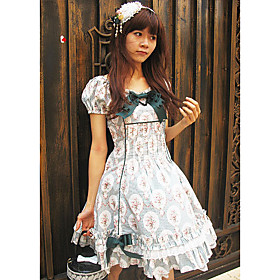 Short Sleeve Knee-length Charlotte Floral Cotton Classic Lolita Dress