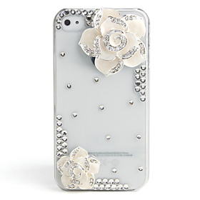 Fashionable Diamond Case for iPhone 4 / 4S (White Flower,