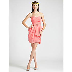 Sheath/ Column Sweetheart Short/ Mini Chiffon Bridesmaid Dress