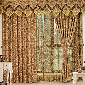 Luxury Gold Wire Jacquard Traditional Window Curtain (Drapes Pair)