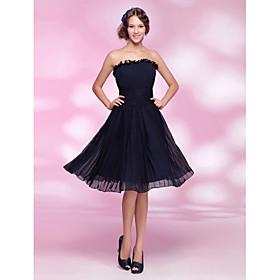 A-line Princess Strapless Knee-length Chiffon Cocktail Dress