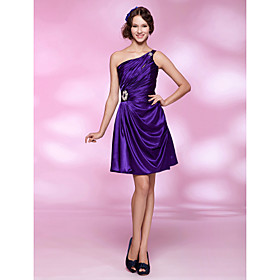 A-line One Shoulder Short/ Mini Elastic Silk-like Satin Cocktail Dress