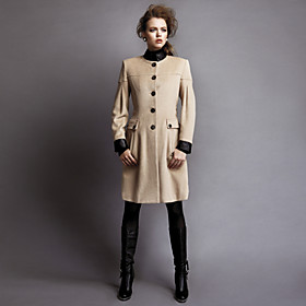 TS Faux Leather Stand Collar Coat with Belt