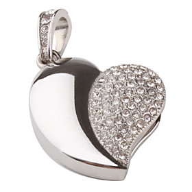 8GB Heart Shaped Pendant Style USB Flash Drive (Silver)