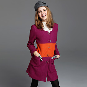 TS Wool Blend Color Block Modern Coat