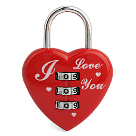 3-Digit Heart-Shaped Luggage Padlock(Red)