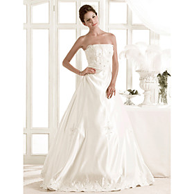 Elegant A-line Strapless Floor-length Satin Wedding Dress