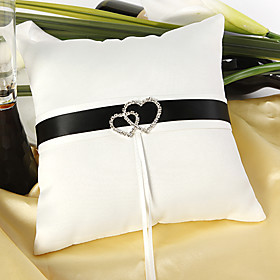 Delux Wedding Ring Pillow In Ivory Satin With Loving Hearts