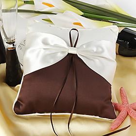 Elegant Cream and Chocolate Ring Pillow