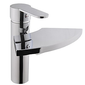 Chrome Finish Brass Waterfall Bathroom Sink Faucet
