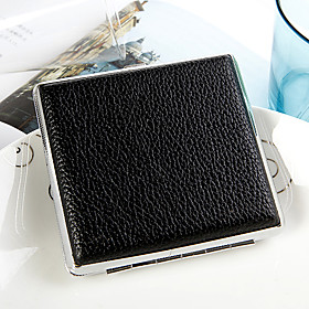 Personalized Classic Black Leather Cigarette Case