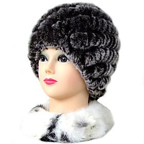 TS Adjustable Round Rabbit Fur Hat
