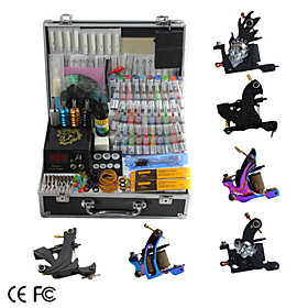 6 Cast Iron Tattoo Gun Kit  with LCD Power Supply and 40 Ink