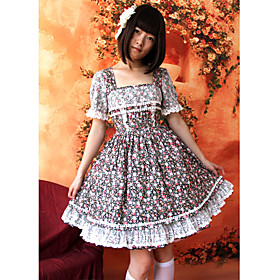 Short Sleeve Knee-length Floral Cotton White Chocolate Country Lolita Dress