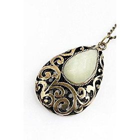 TS Tear Drop Carved Pendant Necklace