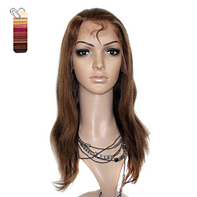 Full Lace Medium Long Yaki Straight 100% India Reme Hair Wig 26 Colors To Choose