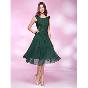 A-line V-neck Tea-length Chiffon Cocktail Dress