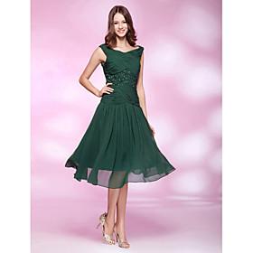 A-line V-neck Tea-length Chiffon Cocktail Dress