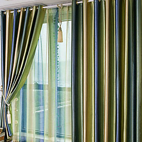 Beautiful Gradients Solid Contemporary Blackout Curtain (Pair)