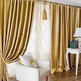 Honey Yellow Embossed Casual Blackout Curtain (Pair)