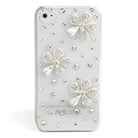 Fashionable Diamond Case for iPhone 4 / 4S (Silver Flower,