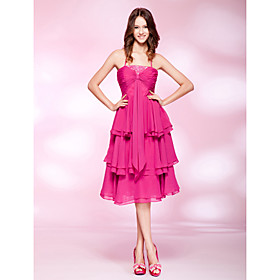 A-line Spaghetti Straps Knee-length Chiffon Cocktail Dress