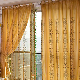 Golden Flower Print Traditional Sheer Curtain (Pair)