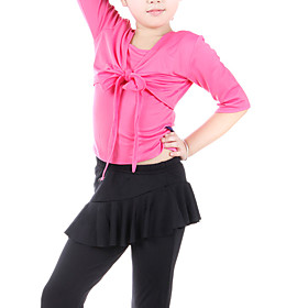 Dancewear Polyester With  Bow Practice Latin Top and Culottes 2 Pieces Set for Kids More Colors