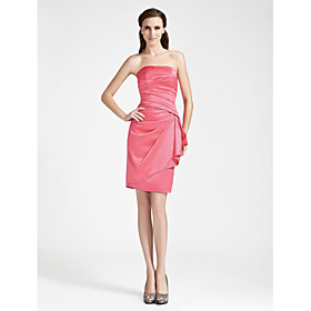 Sheath/ Column Strapless Knee-length Side-Draped Satin Bridesmaid Dress