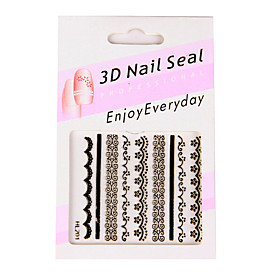 6 Nail Art Stickers French Style White/Black/Pin?k Lace