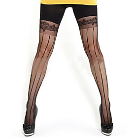 TS Lace Striped Body Shaping Pantyhose