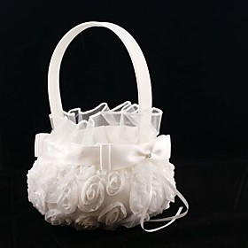 Pure White Rose Flower Girl Basket