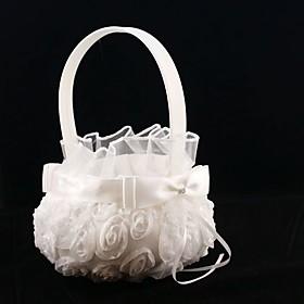 Pure White Rose Flower Girl Basket