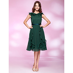 A-line Princess V-neck Knee-length Chiffon Cocktail Dress