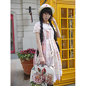 Short Sleeve Short Check Pattern Floral Cotton Sweet Lolita Dress