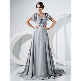 A-line V-neck Court Train Chiffon Evening Dress