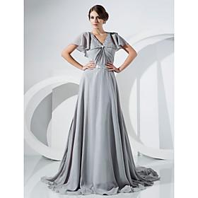 A-line V-neck Court Train Chiffon Evening Dress