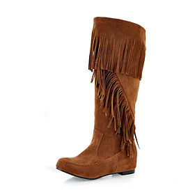 Suede Upper Low Heel Mid-Calf Boots With Tassel Honeymoon Shoes More Colors