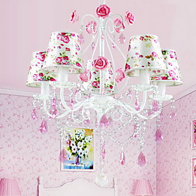 Floral Crystal Chandelier with 5 Lights