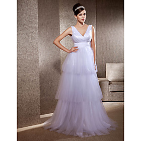 A-line V-neck Sweep/Brush Train Tulle Elastic Woven SatinWedding Dress