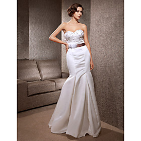 Trumpet/ Mermaid Sweetheart Sweep/Brush Train Satin Wedding Dress