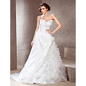 A-line Strapless Chapel Train Taffeta Wedding Dress