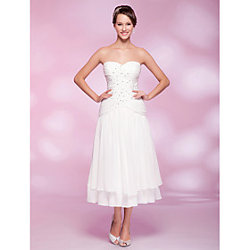 A-line Sweetheart Tea-length Chiffon Cocktail Dress